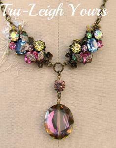 vintage rhinestones, mystic crystal pendant
