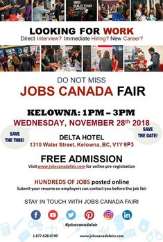 Looking for a job? Immediate hiring? Direct interview? KELOWNA JOB FAIR November 28th. From 1 - 3pm. Free Admission. Meet face to face with recruiters, HR Managers and Hiring Companies from #Kelowna. Register online today to attend and submit your resume so employers can contact you before the Job Fair. #jobscanadafair #jobfair #hiring #careerexpo #careerfairs #canadacareerfairs #careerjobfairs #canadajobfair #hiringjobfair #canadafair #Bristishcolumbiajobfair #recruitmentjobfair…