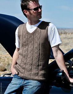 angela hahn sweater vest knitting pattern on twist collective Knit Vest Pattern, Sweater Patterns, Granny Square Crochet Pattern, Pulls, Knitting Patterns, Knitting Projects, Men Sweater, Angeles, Clothes