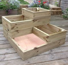 4 tier timber planter Could be a sand box for kids too Wooden Planters, Diy Planters, Planter Boxes, Tiered Planter, Outdoor Projects, Garden Projects, Back Gardens, Outdoor Gardens, Garden Boxes