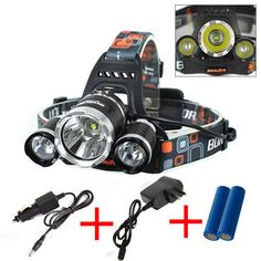 CREE XM-L 3x T6 3 Modes 6000LM Headlamp Head Light + 2x18650 + Car Wall Charger #Unbranded