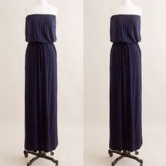 "J.Crew maxi dress The strapless bodice of this maxi dress features a drawstring waist for a blouson effect, and the floor-length silhouette makes it the perfect canvas for dressing up or down. Rayon/spandex jersey. On-seam pockets. Import. Machine wash. Length: 52"" J. Crew Dresses Maxi"
