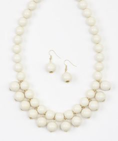 Another great find on #zulily! White Bauble Bib Necklace & Earrings Set #zulilyfinds