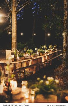 With the smell of fresh pine trees lingering in the air Wessel and Clarissa said their vows - a perfectly lit forest for their rustic outdoor celebration!