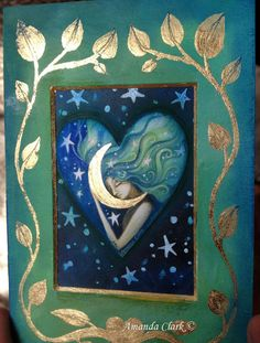 ACEO original tiny painting and collage  by Amanda Clark. The Moon and the…