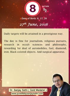 #Numerology‬ predictions for 27th June'16 by Dr.Sanjay Sethi-Gold Medalist and World's No.1 #AstroNumerologist.