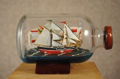 Sweetheart - vintage sailing ship in a bottle - miniature collectible.