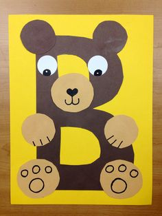 B is for Bear.  Brown bear.  Preschool alphabet craft.  Letter B craft. Alphabet art.