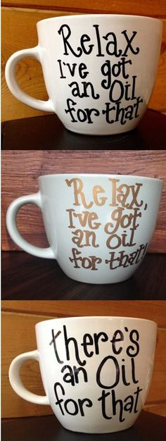 LOVE these mugs! They're funny! They're cute! And they're practical. Perfect gifts for oily friends. (click for info on where to find them)