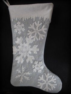 White Christmas Snowflake Stocking KIT by by cheswickcompany Appliqued wool felt stocking by the Cheswick Company