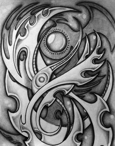 Another biomechanical background study. S Tattoo, Sleeve Tattoos, Biomechanical Tattoo Design, Bio Organic Tattoo, Tattoo Background, Bio Art, Steampunk, Stained Concrete, Drawing Techniques