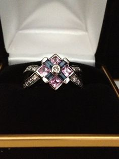 14K White Gold Diamond Blue and Pink Sapphire Ring by BlingThings, $595.00