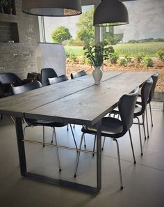 Dining tables according to dimensions- Spiseborde efter mål Wooden table plank dining table - French Dining Tables, Timber Dining Table, Diy Dining Room Table, White Dining Table, Wooden Tables, Plank Table, Modern Kitchen Design, Wood Furniture, Sweet Home