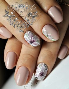 Opting for bright colours or intricate nail art isn't a must anymore. This year, nude nail designs are becoming a trend. Here are some nude nail designs. Floral Nail Art, White Nail Art, White Nails, Spring Nail Art, Spring Nails, Fabulous Nails, Gorgeous Nails, Fancy Nails, Trendy Nails