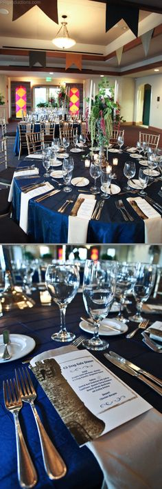 Regal theme with royal blue linens and cream napkins