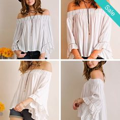 Smocked Neck Kimono Colf Shoulder Blouse - Great Off the shoulder Feminine Blouse. Lace trim and soft flattering colors make this a romance in the making.  Description: Striped off shoulder flare blouse with ruffled wide sleeves. Smocked neckline. Lace tape details on sleeves. Non-sheer. Woven. Lightweight. Content: 70%COTTON 30%RAMIE - On Sale for $26.00 (was $44.00)