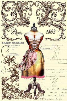 Etiqueta postal maniqui Paris.
