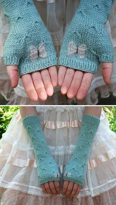 Knitting pattern for Catching Butterflies by tiny owl knits - Fingerless mitts feature a butterfly stitch and butterflies on the palms and edge.