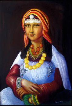 The Mona Lisa wearing a costume and jewelry traditional Amazigh (Berber) and Moroccan Berbers from Morocco Mona lisa Moroccan Berber (Amazigh) Art by Independent Artists. Le Sourire De Mona Lisa, Lisa Gherardini, Bd Pop Art, Mona Friends, Divas, La Madone, Mona Lisa Parody, Mona Lisa Smile, Morocco