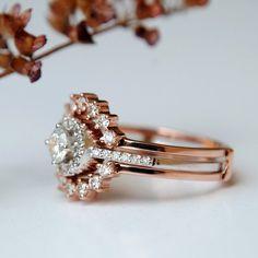 Engagement Ring with Ring Enhancer Set. Gold Edwardian Bridal Ring Set Diamond Engagement Ring with Ring Enhancer Set. Classic Engagement Rings, Round Diamond Engagement Rings, Diamond Rings, Marquise Diamond, Halo Engagement, Wedding Rings Sets Gold, Bridal Rings, Wedding Bands, Ring Set