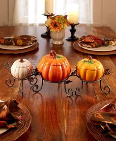 Decorate your countertop or table for the fall season with a 4-Pc. Ceramic Pumpkin Centerpiece Set. Each pumpkin has a removable lid and a spacious interior, pe