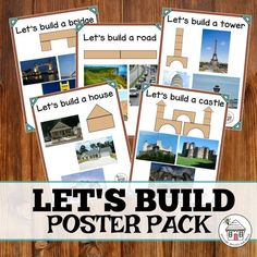 "Add these posters to your construction space to inspire the children in your care. Amy H. gave this activity 5 stars, ""This is awesome. My kids have been building more than ever since I hung these. We have had many discussions on bridges and towers."" Buy the $2 Let's Build Poster Pack from the #prekprintablefun shop!"