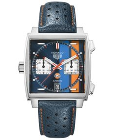 66e26fdacae Limited Edition Tag Heuer Men s Swiss Automatic Monaco Gulf Blue Leather  Strap Watch 39x39mm - Special Edition