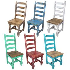 This Set Of 4 Shabby Chic Ladder Back Chairs Are Featured