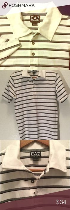EA7 Emporio Armani Men's SS Polo Medium NWOT New without tags, men's Emporio Armani EA7 white polo shirt with black and gray stripes, size medium - see pics, and if unsure of size, request measurements prior to purchase. Emporio Armani Shirts Polos