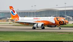 """Chongqing Airlines 10th Anniversary new livery. """"MeiHao Chongqing"""". B-6761. Airbus A320-232. JetPhotos.com is the biggest database of aviation photographs with over 3 million screened photos online!"""