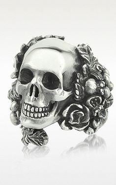 ☆ Ugo Cacciatori Sterling Silver Skull Foliage Ring ☆