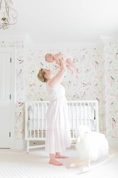 Vintage-Bird Wallpaper - so whimsical in this baby girl nursery!