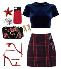 """Love the skirt and top, would probably change accessories though   """"2018"""" by wxvytee ❤ liked on Polyvore featuring Gucci, Oasis and H&M"""