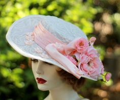 Wide Brim Summer Lace White Hat Victorian Vintage by BuyGail, $245.00