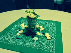 Our John Deere baby shower table center piece