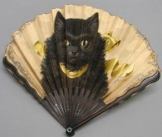 Fan from the late decorated by Adolphe Thomasse, who was best known for depictions of animals and birds Antique Fans, Vintage Fans, Crazy Cat Lady, Crazy Cats, Hand Held Fan, Hand Fans, Fan Decoration, Fan Signs, Paper Fans