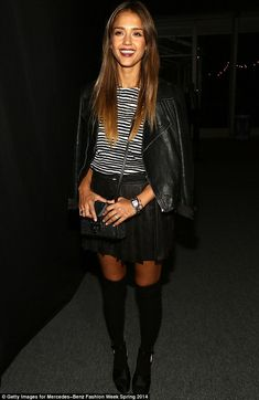 Jessica Alba attended the Charlotte Ronson Spring 2014 runway show on Saturday at Mercedes-Benz Fashion Week in New York City