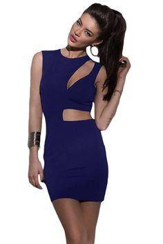Blue Asymmetric Cutout Sexy Mini Club Dress ChicLike.com #Blue