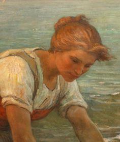 """Virginie Demont-Breton """"Les oiseaux de mer"""" (détail) 1907 Paris, Painting, Virginia, Opal, Montmartre Paris, Painting Art, Paris France, Paintings, Painted Canvas"""