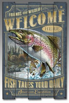 Our new rustic Wooden Cabin Signs are a great wall decor item for any cabin, lodge, lake home, or den. The illustrations and rustic graphics are printed on real textured wood with varying length slats