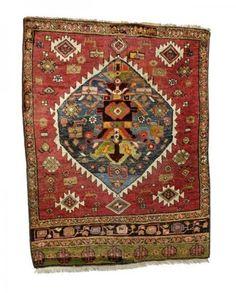 Persisch-Bidjar-Teppich  um 1900, Ghiordes-Knote, abgenutzt, beschädigt, unvollständig, 124*95 cm Persian-Bidjar-rug  around 1900, ghiordes-knot, worn, damaged, incomplete, 124*95 cm