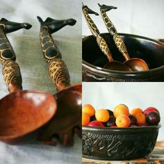 Handmade giraffe serving spoons and ebony serving bowl. Find us on Etsy: https://www.etsy.com/uk/shop/BeautifulAfrican