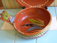 Mexican Pottery | Vintage Mexican Pottery Serving Bowl Tlaquepaque by 40sZen on Etsy