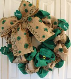 St. Patrick's Day Burlap Wreath.  Rustic St. Patrick's Day Decor.  St. Patti's Decoration.  Green Burlap Wreath door decor on Etsy, $40.00