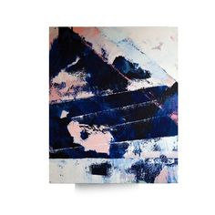 Original abstract painting pink blue white art by MossAndBlue