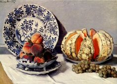 Still life with melon  1872  Claude Monet