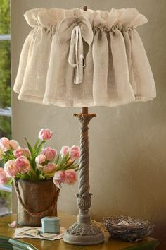 Vintage Linen Lampshade Cover - Lamp Shade Covers, Linen Lampshade   Soft Surroundings:
