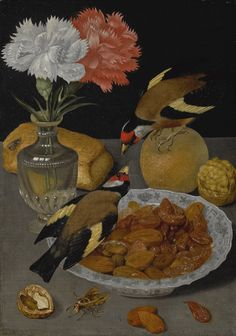 Still-Life of a Roll, Glass Vase of Carnations, an Orange, Walnuts, and a Bowl of Almonds with Goldfinches by Circle of Georg Flegel Contemporary Artists, Modern Art, Dutch Still Life, Goldfinch, Old Paintings, Vanitas, Illustrations, Beautiful Birds, Art History