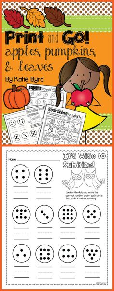 Practice pages for fall in your kindergarten classroom. Made to save your ink and time. $ Subitizing, Numeracy, Kindergarten Classroom, Teaching Math, Fall Preschool Activities, Number Talks, Math Work, Math Intervention, First Grade Math