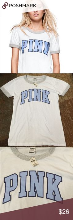 NWT PINK ringer crew tee S NWT VS PINK ringer crew tee size small. This is white with gray trim and blue letters :) PINK Victoria's Secret Tops Tees - Short Sleeve